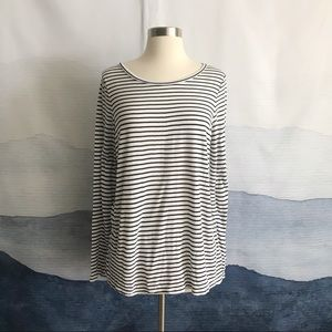 J. Crew Drapey Long Sleeve Striped T-Shirt